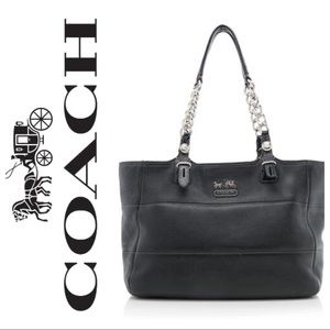 Coach 1411 Leather Tribeca Black East West Tote